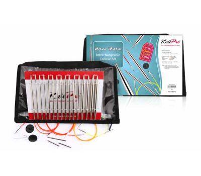 """10613 Knit Pro Набор """"Deluxe Set """" съемных спиц """"Nova Metal"""" (в наборе: спицы съемные (3,5мм, 4мм, 4,5мм, 5мм, 5,5мм, 6мм, 7мм, 8мм), тросик (60см, 80см, 100см), заглушка с ключиком-3 пары), никелированная латунь, серебристый, 8 видов"""