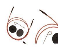 31291 Knit Pro Тросик (заглушки 2шт, кабельный ключик) для съемных укороченных спиц, длина 20см (готовая длина спиц 40см), коричневый