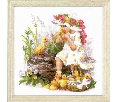 """1781 Набор для вышивания """"Риолис"""" Девочка с утятами 30х30 см, 1781"""