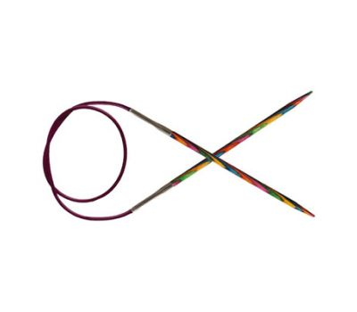 """40/2,00 Knit Pro Спицы круговые укороченные """"Symfonie"""" 2мм/40см  ламинированная береза, многоцветный, 20301"""