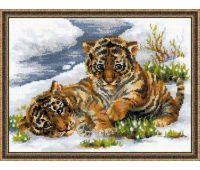 """1564 Набор для вышивания """"Риолис"""" Тигрятина в снегу 40х30 см"""