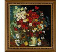 """1591 Набор для вышивания """"Риолис"""" Ваза с маками, васильками и хризантемами 30х30 см"""