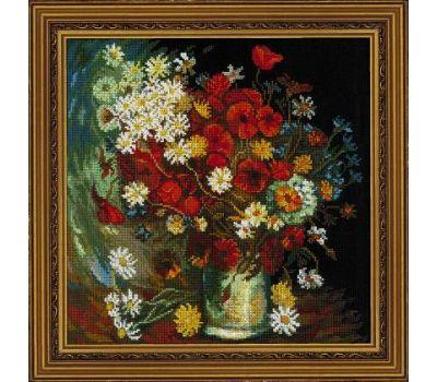 """1591 Набор для вышивания """"Риолис"""" Ваза с маками, васильками и хризантемами 30х30 см, 1591"""