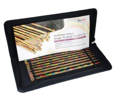 """20214 Knit Pro Набор прямых спиц длиной 25см """"Symfonie"""" (в наборе: спицы прямые-3,5мм, 4мм, 4,5мм,5мм, 5,5мм, 6мм, 7мм, 8мм), ламинированная береза, многоцветный, 8 видов спиц в наборе, 20214"""
