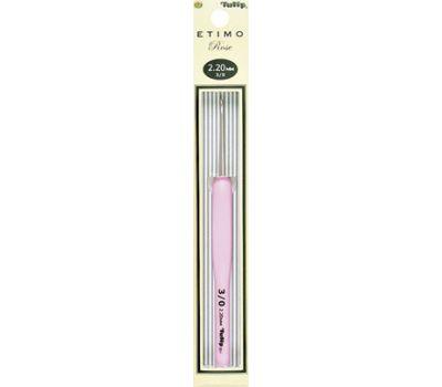 """2,20 TULIP Крючок для вязания с ручкой """"ETIMO Rose"""" 2,2мм, алюминий/пластик, серебристый/розовый, TER-04e"""