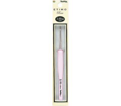 """2,00 TULIP Крючок для вязания с ручкой """"ETIMO Rose"""" 2,0мм, алюминий/пластик, серебристый/розовый, TER-03e"""