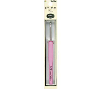 """3,00 TULIP Крючок для вязания с ручкой """"ETIMO Rose"""" 3,0мм, алюминий/пластик, серебристый/розовый, TER-06e"""