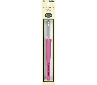 """3,50 TULIP Крючок для вязания с ручкой """"ETIMO Rose"""" 3,5мм, алюминий/пластик, серебристый/розовый, TER-07e"""