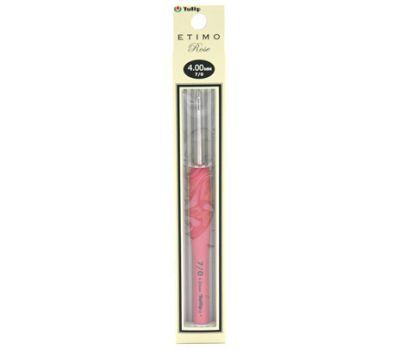 """4,00 TULIP Крючок для вязания с ручкой """"ETIMO Rose"""" 4,0мм, алюминий/пластик, серебристый/розовый, TER-08e"""