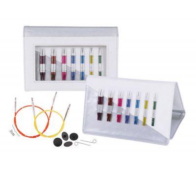 """42161 Knit Pro Набор """"Deluxe Set Special IC"""" съемных УКОРОЧЕННЫХ спиц """"SmartStix""""(в наборе: органайзер белый/серебристый, спицы съемные (3мм, 3,5мм, 4мм, 4,5мм, 5мм, 5,5мм, 6мм), тросик (40см - 2шт, 50см), заглушки 8шт, кабельный ключи"""