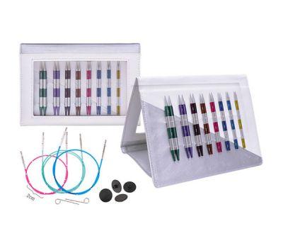 """42140 Knit Pro Набор """"Deluxe Set Normal IC"""" съемных спиц """"SmartStix""""(в наборе: органайзер белый/серебристый, спицы съемные (3,5мм, 4мм, 4,5мм, 5мм, 5,5мм, 6мм, 7мм, 8мм), тросик (60см, 80см - 2шт, 100см), заглушки 8шт, кабельный ключик"""