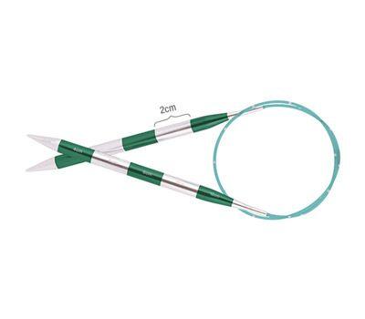 """80/2,00 Knit Pro Спицы круговые """"SmartStix"""" 2,0мм/80см, алюминий, серебристый/изумрудный, 42081"""