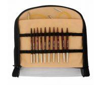 "25615 Knit Pro Набор ""Special Interchangeable Needle Set"" съемных спиц ""Cubics"" (в наборе: спицы съемные (4мм, 4,5мм, 5мм, 5,5мм, 6мм) длина 10см, тросик 40см - 2шт, заглушки - 4шт, ключик - 2шт, классификатор размера спиц), дерево, ко"