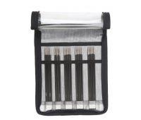 """41614 Knit Pro Набор чулочных спиц длиной 15см """"Karbonz"""" (в наборе: спицы чулочные-2мм, 2,5мм, 3мм, 3,5мм, 4мм), карбон, черный, 5 видов спиц в наборе"""