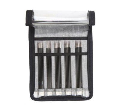 """41614 Knit Pro Набор чулочных спиц длиной 15см """"Karbonz"""" (в наборе: спицы чулочные-2мм, 2,5мм, 3мм, 3,5мм, 4мм), карбон, черный, 5 видов спиц в наборе, 41614"""