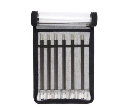 """41615 Knit Pro Набор чулочных спиц длиной 20см """"Karbonz"""" (в наборе: спицы чулочные-2,5мм, 3мм, 3,5мм, 4мм, 4,5мм, 5мм), карбон, черный, 6 видов спиц в наборе, 41615"""
