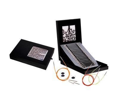 """41620 Knit Pro Подарочный набор """"Interchangeable Needle Set"""" съемных спиц """"Karbonz"""" (в наборе: упаковка - искуственная кожа, спицы съемные (3,5мм, 4мм, 4,5мм, 5мм, 5,5мм, 6мм, 7мм, 8мм), тросики (60см, 80см-2шт, 100см), заглушки-8шт, к"""