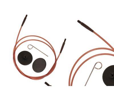 """31296 Knit Pro Тросик (заглушки 2шт, кабельный ключик) для съемных спиц """"Ginger"""", длина 94см (готовая длина спиц 120см), коричневый, 31296"""