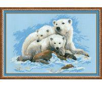 """1033 Набор для вышивания """"Риолис"""" Белые медведи 60х40 см"""
