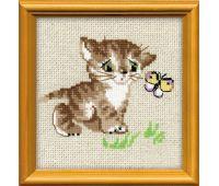 """1049 Набор для вышивания """"Риолис"""" Котенок с бабочкой 15х15 см"""