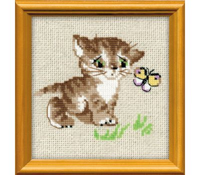 """1049 Набор для вышивания """"Риолис"""" Котенок с бабочкой 15х15 см, 1049"""