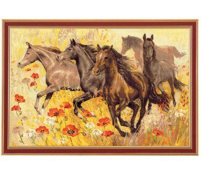 """1064 Набор для вышивания """"Риолис"""" Табун лошадей 60х40 см, 1064"""