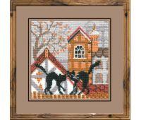 """613 Набор для вышивания """"Риолис"""" Город и кошки. Осень 13х13 см"""