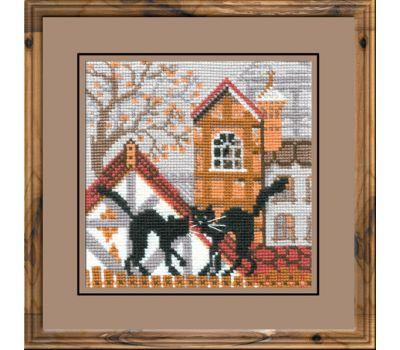 """613 Набор для вышивания """"Риолис"""" Город и кошки. Осень 13х13 см, 613"""