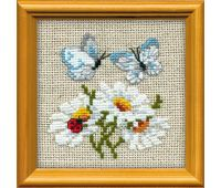 """757 Набор для вышивания """"Риолис"""" Ромашки с бабочками 10х10 см"""