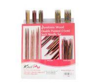 """20651 Knit Pro Набор чулочных спиц длиной 15см """"Symfonie"""" (в наборе: спицы чулочные-2мм, 2,5мм, 3мм, 3,5мм, 4мм), дерево, многоцветный, 5 видов спиц в наборе"""