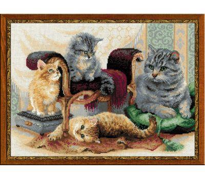 """1327 Набор для вышивания """"Риолис"""" Кошачье семейство 40х30 см, 1327"""