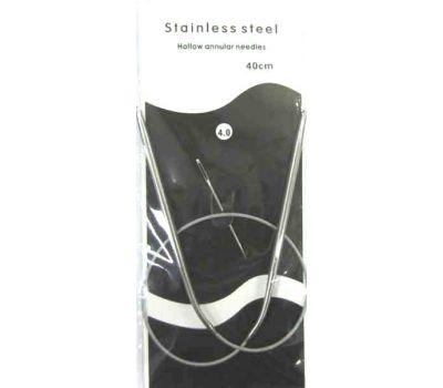 Спицы круговые на МЕТАЛЛИЧЕСКОМ тросике, с никелевым покрытием, длина 40см №4 , 40-4