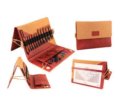"""31282 Knit Pro Набор """"Deluxe Special IC"""" съемных спиц """"Ginger""""(в наборе: органайзер бежевый/синий, спицы съемные (3,5мм, 4мм, 4,5мм, 5мм, 5,5мм, 6мм, 7мм, 8мм, 9мм, 10мм, 12мм), тросик (40см - 2шт, 50см - 2шт), заглушки 8шт, кабельный"""