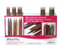 """20650 Knit Pro Набор чулочных спиц длиной 10см """"Symfonie"""" (в наборе: спицы чулочные-2мм, 2,5мм, 3мм, 3,5мм, 4мм), дерево, многоцветный, 5 видов спиц в наборе"""