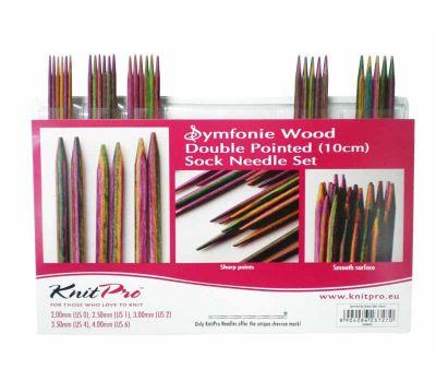 """20650 Knit Pro Набор чулочных спиц длиной 10см """"Symfonie"""" (в наборе: спицы чулочные-2мм, 2,5мм, 3мм, 3,5мм, 4мм), дерево, многоцветный, 5 видов спиц в наборе, 20650"""