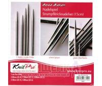 """10651 Knit Pro н-р чулочных спиц длиной 15см """"Nova Metal"""" (в наборе: спицы чулочные-2мм 2,5мм, 3мм, 3,5мм, 4мм), никелированная латунь, серебристый, 3 вида спиц в наборе"""