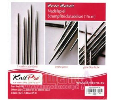 """10651 Knit Pro н-р чулочных спиц длиной 15см """"Nova Metal"""" (в наборе: спицы чулочные-2мм 2,5мм, 3мм, 3,5мм, 4мм), никелированная латунь, серебристый, 3 вида спиц в наборе, 10651"""