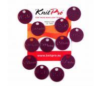 10702 Knit Pro Метки для спиц (4мм, 5мм, 6мм, 8,75мм, 10мм, 12мм по 2шт), пластик, темно-розовый, 12шт в упаковке