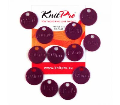 10702 Knit Pro Метки для спиц (4мм, 5мм, 6мм, 8,75мм, 10мм, 12мм по 2шт), пластик, темно-розовый, 12шт в упаковке, 10702