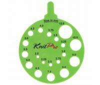 10992 Knit Pro Линейка круглая для определения номера спиц, пластик, зеленый