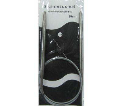 Спицы круговые на МЕТАЛЛИЧЕСКОМ тросике, с никелевым покрытием, длина 80см №7 , 80-7