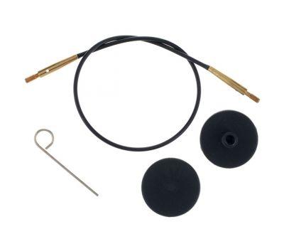 10531 Knit Pro Тросик (заглушки 2шт, ключик) для съемных укороченных  спиц с золотым напылением 24К, длина 20 (готовая длина спиц 40)см, черный, 10531