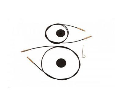 10534 Knit Pro Тросик (заглушки 2шт, ключик) для съемных спиц с золотым напылением 24К, длина 76 (готовая длина 100)см, черный, 10534