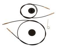 10535 Knit Pro Тросик (заглушки 2шт, ключик) для съемных спиц с золотым напылением 24К, длина 94 (готовая длина спиц 120)см, черный