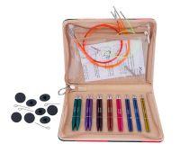 """47409 Knit Pro Набор """"Deluxe Set"""" укороченных съемных спиц """"Zing"""" (в наборе: спицы съемные (3,5мм, 4мм, 4,5мм, 5мм, 5,5мм, 6мм, 7мм, 8мм) длина 10см, тросик (40см - 2шт, 50см - 2шт), заглушки - 8шт, кабельный ключик - 4шт), алюминий, 8"""
