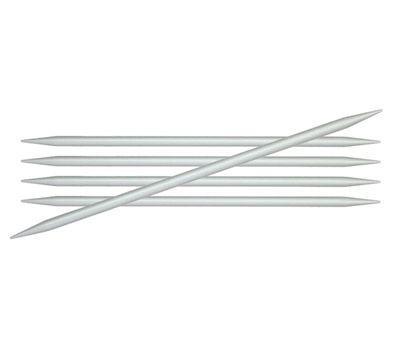 """15/4,00 Knit Pro Спицы чулочные """"Basix Aluminum"""" 4,0мм/15см, алюминий, серебристый, 5шт в упаковке, 45105"""