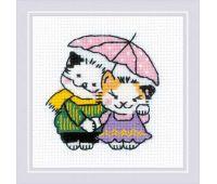 """1810 Набор для вышивания """"Риолис"""" Котомания, Двое под дождем 9х9 см"""