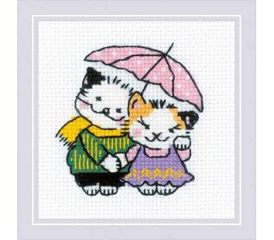 """1810 Набор для вышивания """"Риолис"""" Котомания, Двое под дождем 9х9 см, 1810"""
