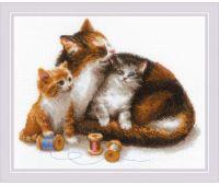 """1811 Набор для вышивания """"Риолис"""" Кошка с котятами 30х24 см"""