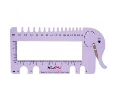 """10995 Knit Pro Линейка """"Слон"""" для измерения размера спиц и плотности вязания с резаком для нити, пластик/металл, сиреневый, 10995"""